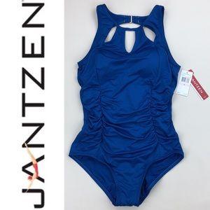 Jantzen Blue High Neck Keyhole One Piece Swimsuit